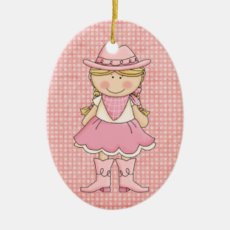 Pretty Pink Cowgirl (blonde) Christmas Ornament