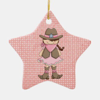 Pretty Pink Cowgirl (brown hair) Christmas Ornament