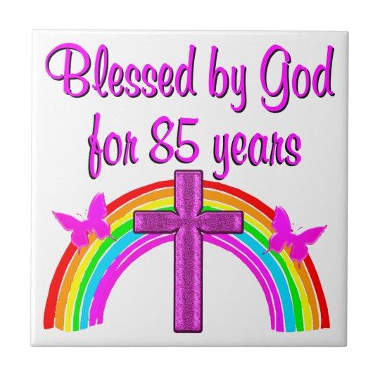 PRETTY PINK CROSS 85TH BIRTHDAY DESIGN TILE