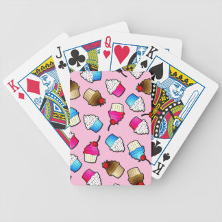 Pretty Pink Cute Cupcakes Print Bicycle Playing Cards