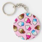 Pretty Pink Cute Cupcakes Print Key Ring