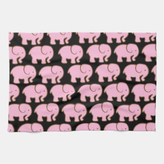 Pretty Pink Cute Elephants on Black Tea Towel