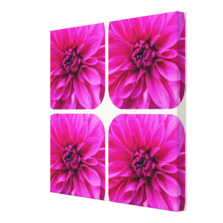PRETTY PINK DAHLIA FLORAL FLOWER GALLERY WRAPPED CANVAS
