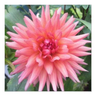 Pretty Pink Dahlia Flower 13 Cm X 13 Cm Square Invitation Card