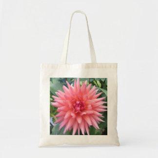 Pretty Pink Dahlia Flower Canvas Bag