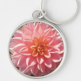 Pretty Pink Dahlia Flower in Summer Key Ring