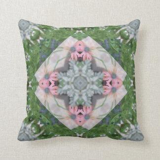 Pretty Pink Daisies Mandala Throw Pillow