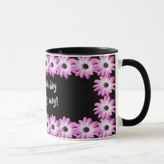 Pretty pink daisy flowers mug, gift idea mug