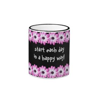 Pretty pink daisy flowers mug, gift idea ringer mug