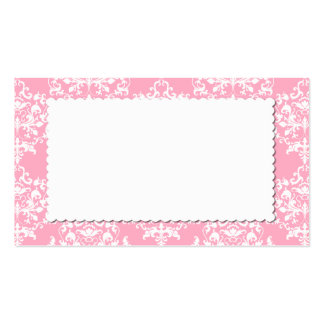 Pretty Pink Damask Escort Place Card Business Card Templates