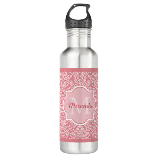 Pretty Pink Damask Pattern Monogram With Name 710 Ml Water Bottle