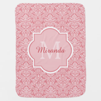 Pretty Pink Damask Pattern Monogram With Name Baby Blanket