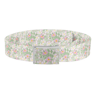 Pretty Pink Dog Roses on Taupe Floral Pattern Belt