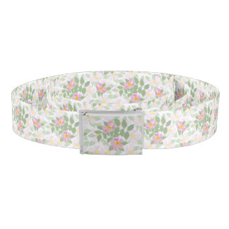 Pretty Pink Dog Roses on White Floral Pattern Belt