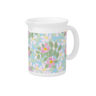 Pretty Pink Dogroses on Sky Blue Pitcher or Jug