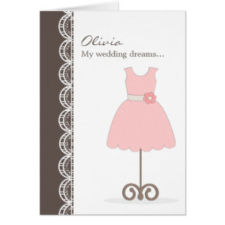 Pretty Pink Dress Will You Be My Flower Girl? Card