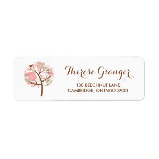 Pretty Pink Easter Eggs Tree Floral Address Label