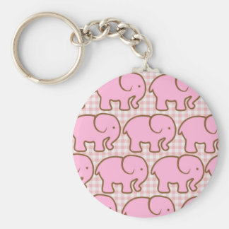 Pretty Pink Elephants on Pink Plaid Pattern Basic Round Button Key Ring