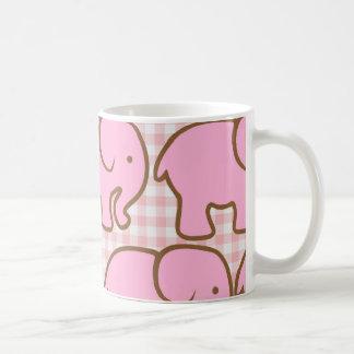 Pretty Pink Elephants on Pink Plaid Pattern Basic White Mug