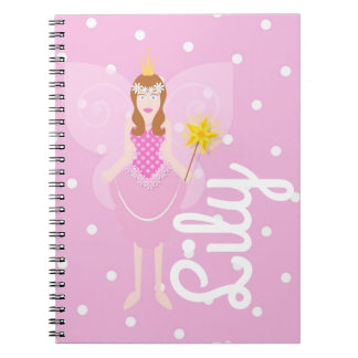 Pretty Pink Fairy Customisable Spiral Notebook