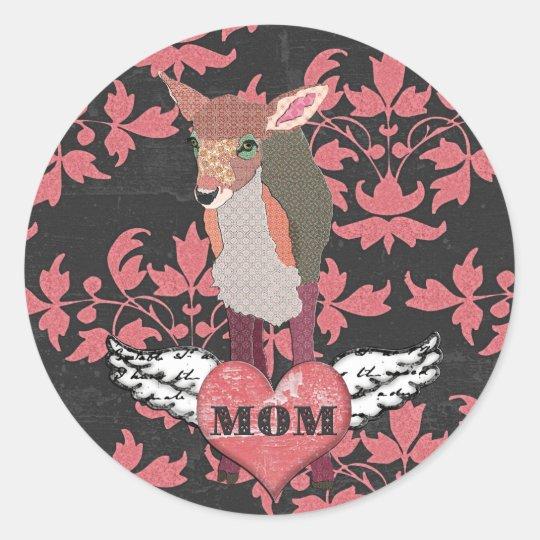 Pretty Pink Fawn Heart  Mum Sticker