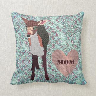 Pretty Pink Fawn Mom Boho Damask Mojo Pillow