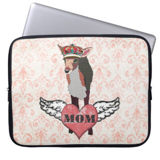 Pretty Pink Fawn Mom Damask Computer Sleeve