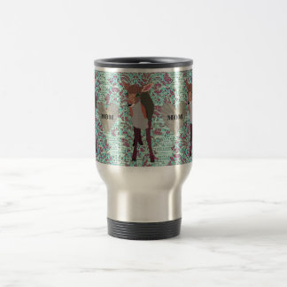 Pretty Pink Fawn Mom Damask Travel Mug