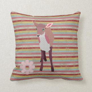 Pretty Pink Fawn Stripes Mojo Pillow