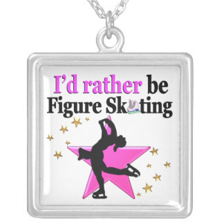 PRETTY PINK FIGURE SKATING IN MY LIFE SQUARE PENDANT NECKLACE