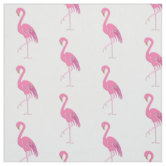 Pretty pink flamingo, white background fabric