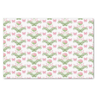 Pretty Pink Floral and Butterfly Tissue Paper