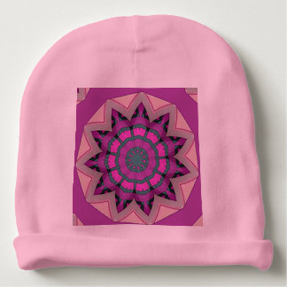 Pretty Pink Floral Design Baby Beanie