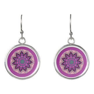 Pretty pink floral design earrings