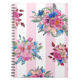 Pretty pink floral design notebook