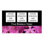 Pretty pink floral flower on black pack of standard business cards