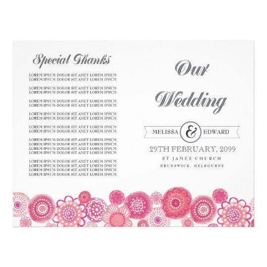 Pretty Pink Floral Flowers Wedding Program Booklet Flyer