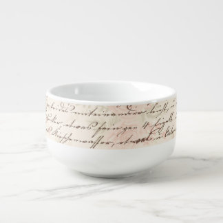 Pretty Pink Floral French Script Writing Soup Mug
