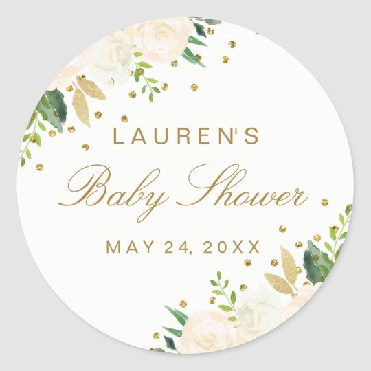 Pretty Pink floral Gold Glitter Baby Shower Classic