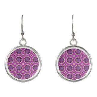 Pretty pink floral pattern earrings