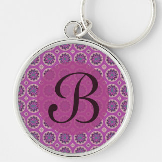 Pretty pink floral pattern Monogram Silver-Colored Round Key Ring