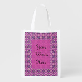 Pretty pink Floral Pattern Reusable Grocery Bag