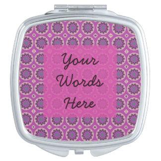 Pretty Pink Floral Pattern Travel Mirror