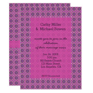 Pretty Pink Floral Pattern Wedding Card