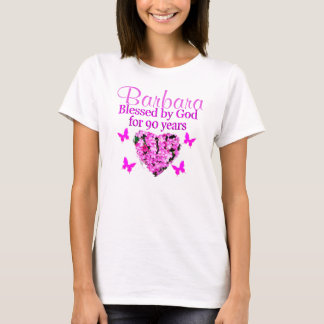 PRETTY PINK FLORAL PERSONALIZED 90TH BIRTHDAY T-Shirt