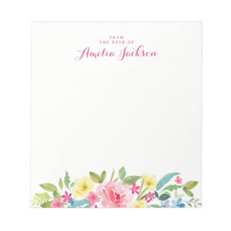 Pretty Pink Floral Personalized Notepad Stationery