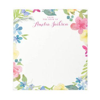 Pretty Pink Floral Personalized Stationery Notepad