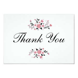 Pretty Pink Floral Stylish Flat Thank You Card 9 Cm X 13 Cm Invitation Card