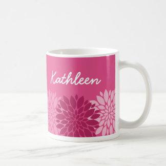 Pretty Pink Floral Trio with Name Basic White Mug