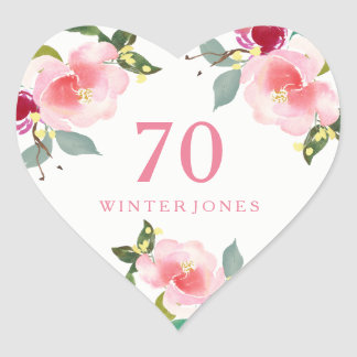 Pretty Pink Floral Watercolor 70th Birthday Party Heart Sticker